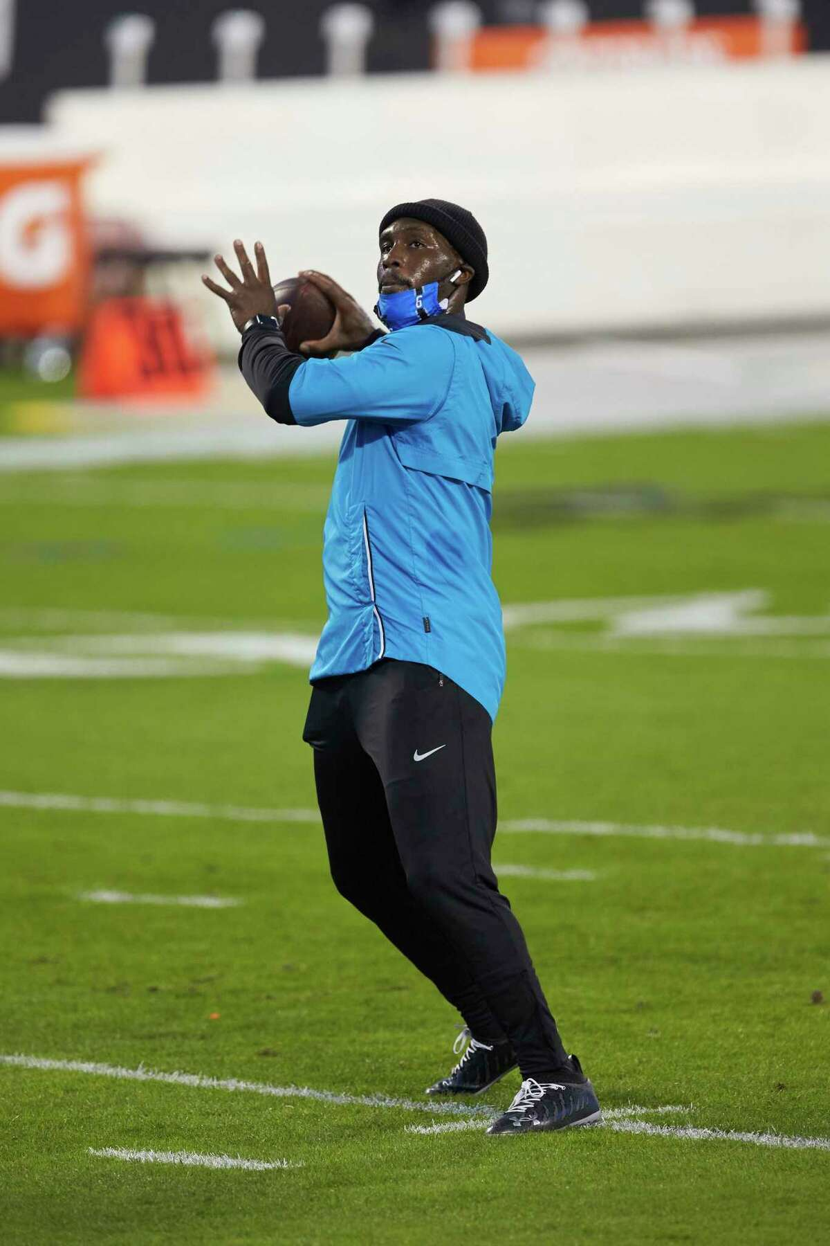 Carolina Panthers quarterback P.J. Walker (6) warms up prior tp an NFL football game against the Atlanta Falcons, Thursday, Oct. 29, 2020, in Charlotte, N.C. (AP Photo/Brian Westerholt)