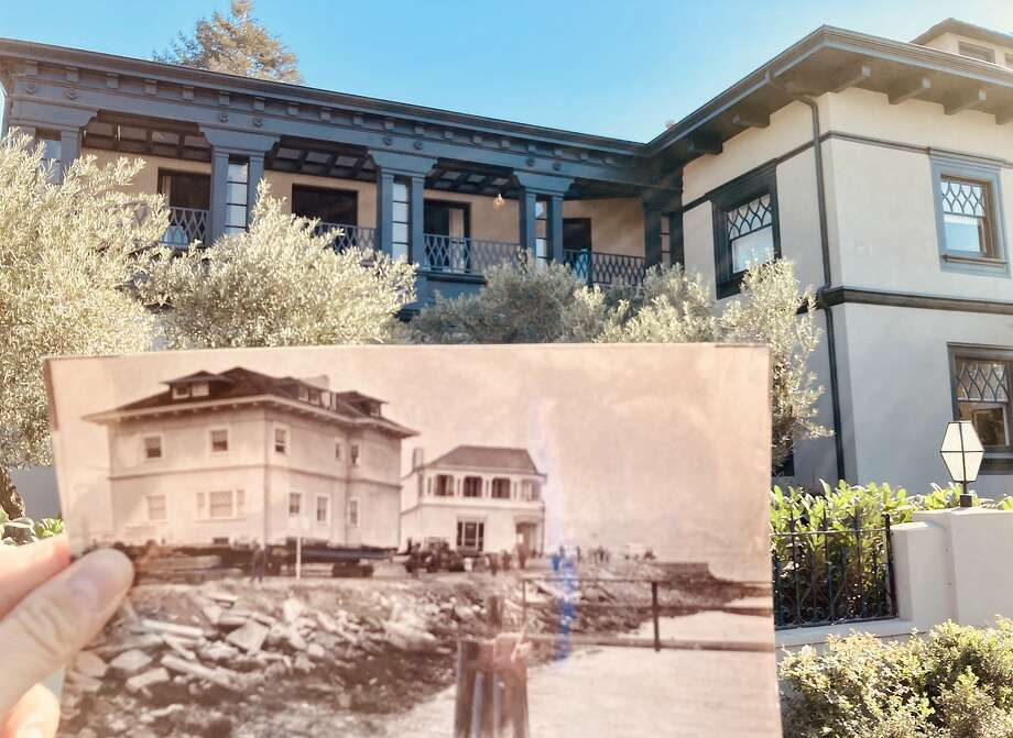The Moffitt Mansion that was moved from Pacific Heights in 1962 remains in Belvedere, now surrounded by grown trees and other high-end homes. Photo: Peter Hartlaub / The Chronicle
