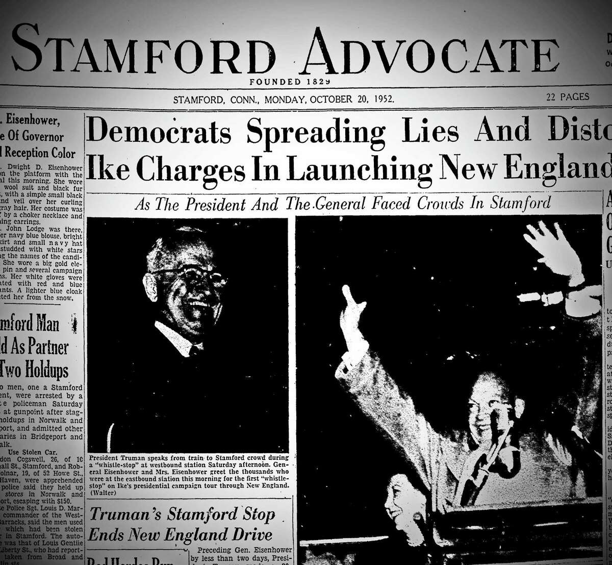 The front page of the Stamford Advocate on Oct. 20, 1952, which reported a visit from President Harry Truman and U.S. Gen. Dwight Eisenhower on a whistle stop in Stamford,