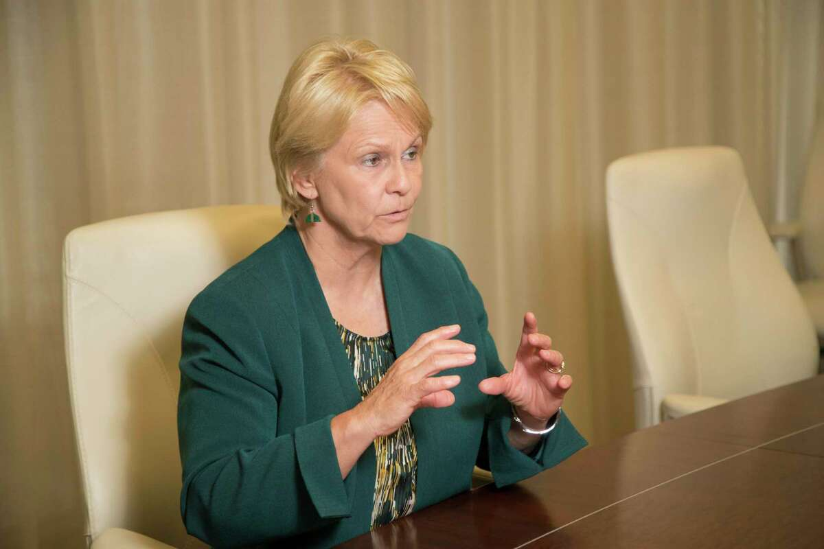 Occidental Petroleum CEO Vicki Hollub in a file photo. She led Oxy's full-throttle and costly pursuit of The Woodlands-based Anadarko, paying $42 billion andtaking on huge debt.