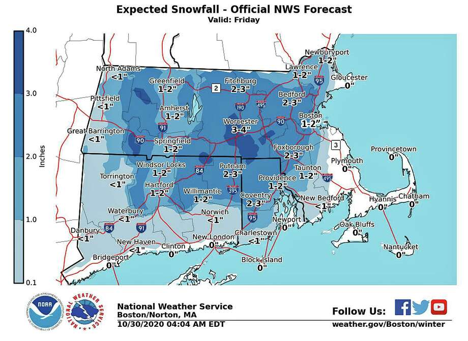 Rain and snow is from a low pressure system that developed after the remants of Tropical Storm affected the Northeast's weather Thursday. Photo: NWS Graphic