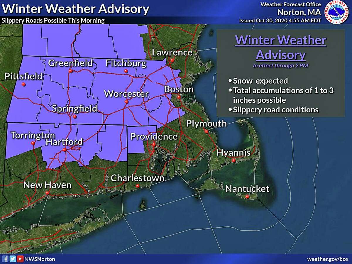 With between 1 to 3 inches of wet snow expected, northern Litchfield, Hartford, Tolland and Windham counties have a winter weather advisory until noon Friday.