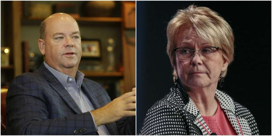 ConocoPhillips CEO Ryan Lance, left, and Occidental CEO Vicki Hollub. Their companies have taken vastly different roads to the Permian Basin during the past year. Photo: Melissa Philllip, Chronicle / Kyle Grillot, Bloomberg