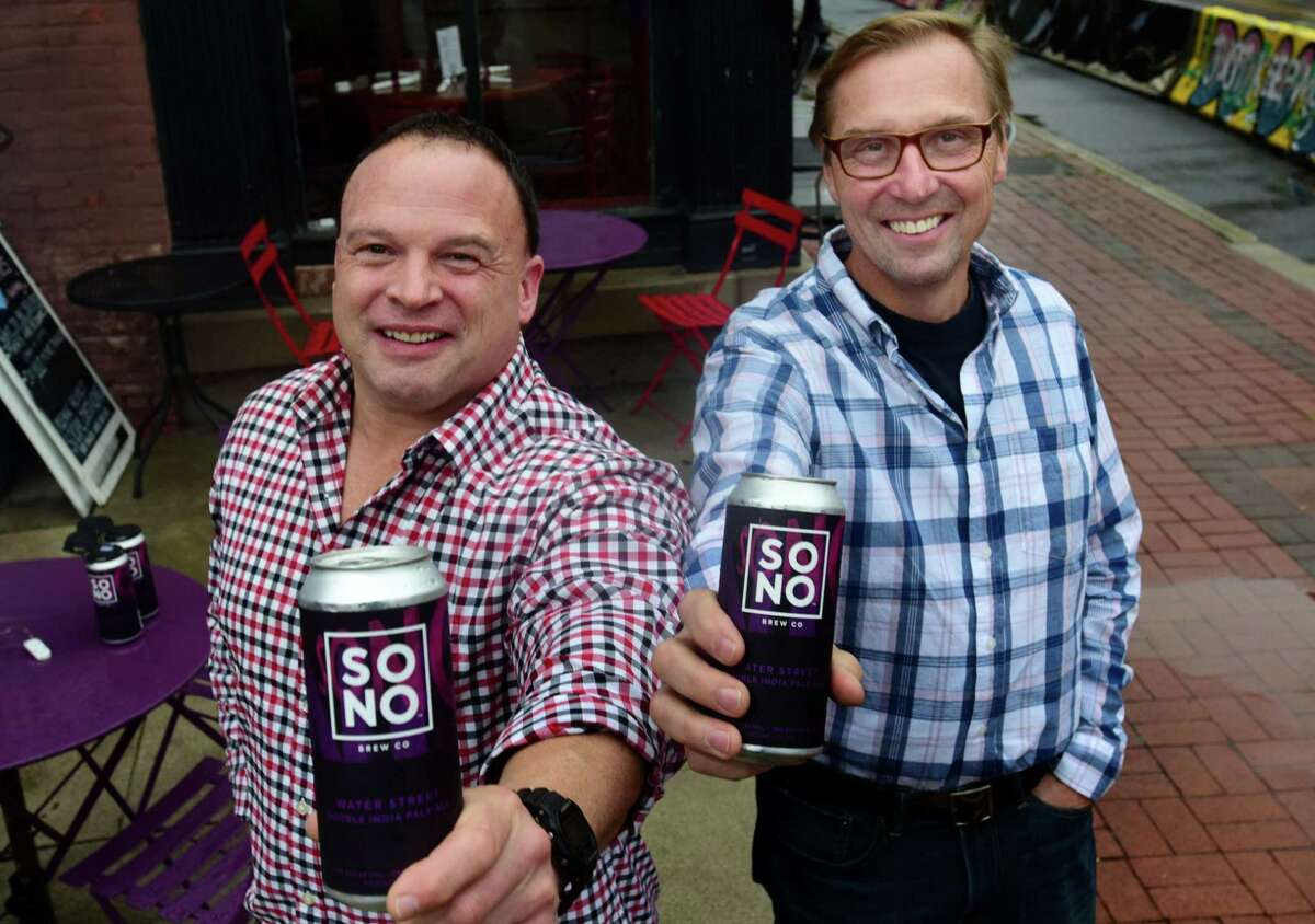 SoNo Brewing founder Don Trooien, right, and Sales and Marketing Director Rob Allen Wednesday, October 28, 2020, in South Norwalk, Conn. The pair are planning a new brewery for South Norwalk called SoNo Brewing, having considered former Iron Brewing space on Washington but electing to build their own.