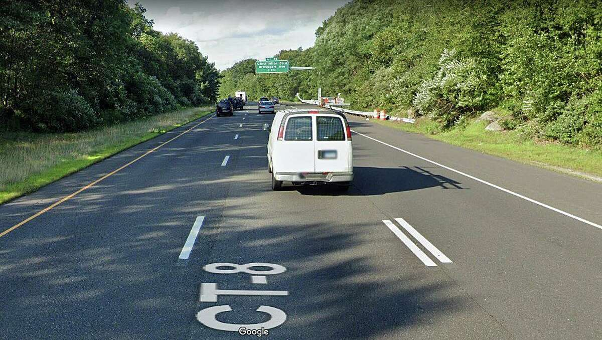 A 46-year-old Bridgeport man was killed after his vehicle traveled off Route 8, went down an embankment and struck a tree on Thursday, Oct. 29, 2020, State Police said. The victim was identified as Demar K. Thompson of Dover Street. The crash happened just before on southbound Route 8 about a mile north of exit 12. Photo shows the area where the crash occurred.