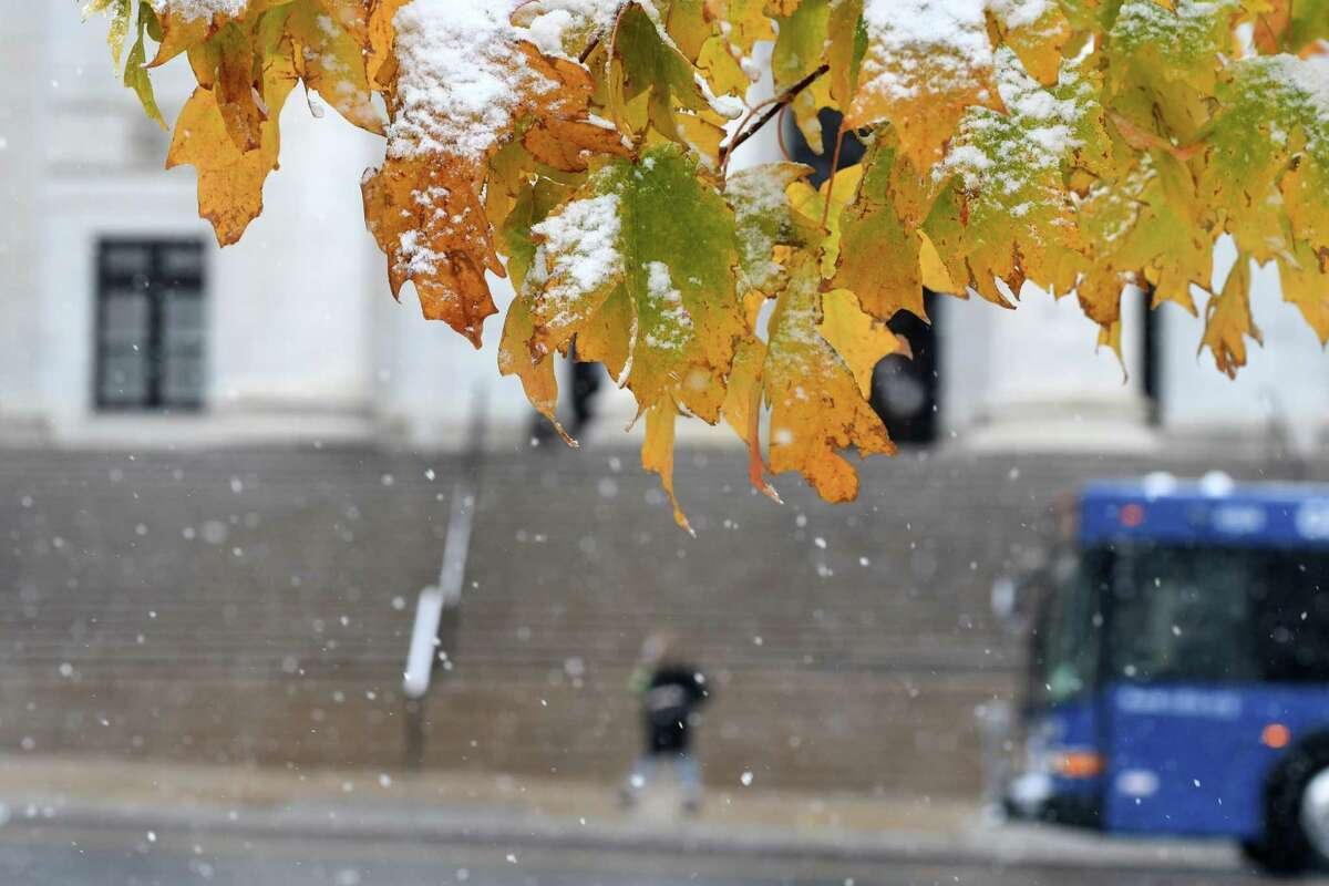 Snow comes down on Washington Avenue across from the State Education Building as the first snowfall of the season arrives in the Capital Region on Friday morning, Oct. 30, 2020, in Albany, N.Y. (Will Waldron/Times Union)