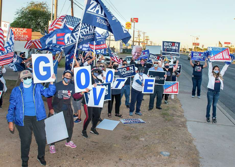 "Supporters of presidential candidate Joe Biden gather at the intersection of Palo Blanco St. and Zapata Highway, Thursday, Oct. 29, 2020, during the ""Everybody Vote Now!"" Get Out the Vote Dance Challenge. Photo: Danny Zaragoza /Laredo Morning Times"