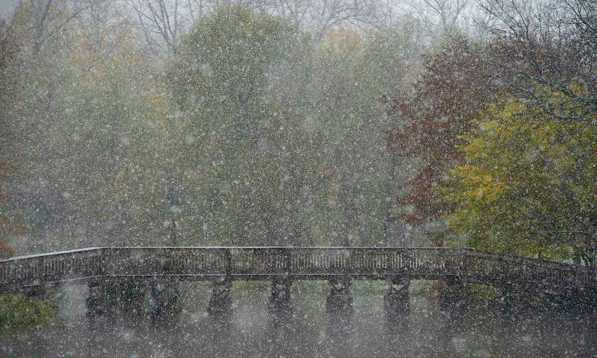 The wet snow that fell across the area on Friday morning turns the scene of the bridge over Rogers Park Pond into a pointillist painting. October 30, 2020, Danbury, Conn.