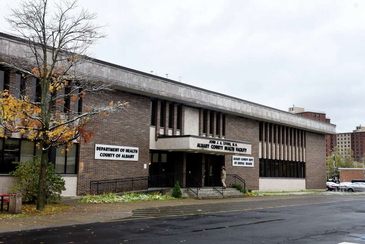 Exterior of the Albany County Department of Health building on Friday, Oct. 30, 2020, on Green Street in Albany, N.Y. Four people in the department have tested positive for COVID-19. (Will Waldron/Times Union)