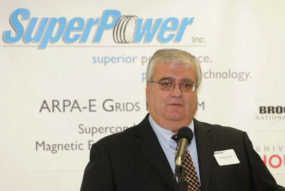 Arthur P. Kazanjian, General Manager, SuperPower, Inc. speaks during a press conference at SuperPower, Inc. in Schenectady, NY on August 31, 2010. At this press conference, Congressman Paul Tonko announced $4.2 million is being awarded to SuperPower along with other companies and Universities for a project to develop a superconducting magnet energy storage system that will help advance DOE's renewable energy goals. (Lori Van Buren / Times Union) Photo: Lori Van Buren