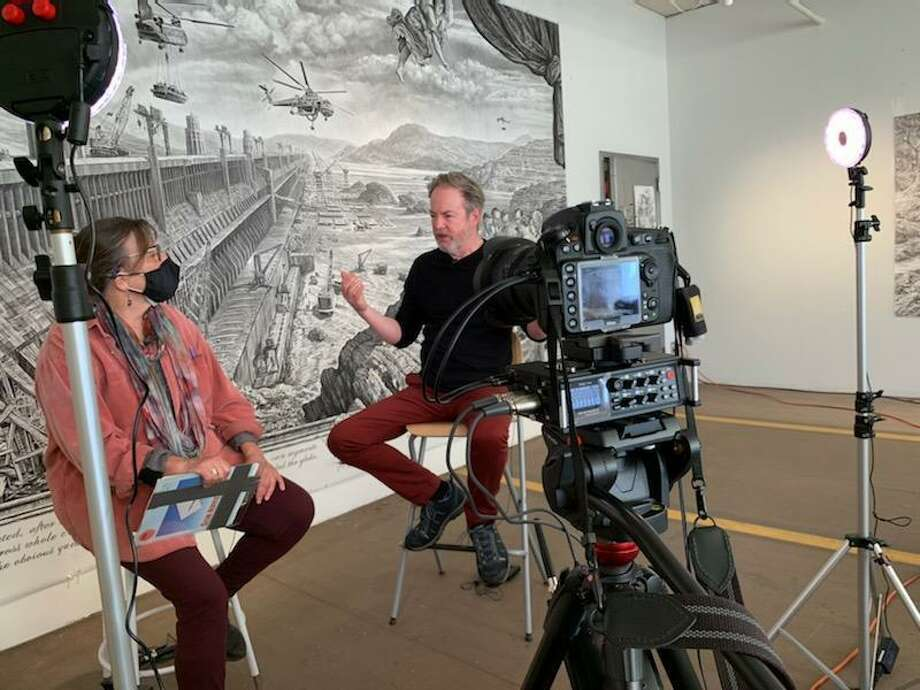 City Lights gallery's Suzanne Kachmar interviews artist Rick Shaefer for the 12th-annual Bridgeport Art Trail, running onsite and online Nov. 5-10. Photo: City Lights / Contributed Photo