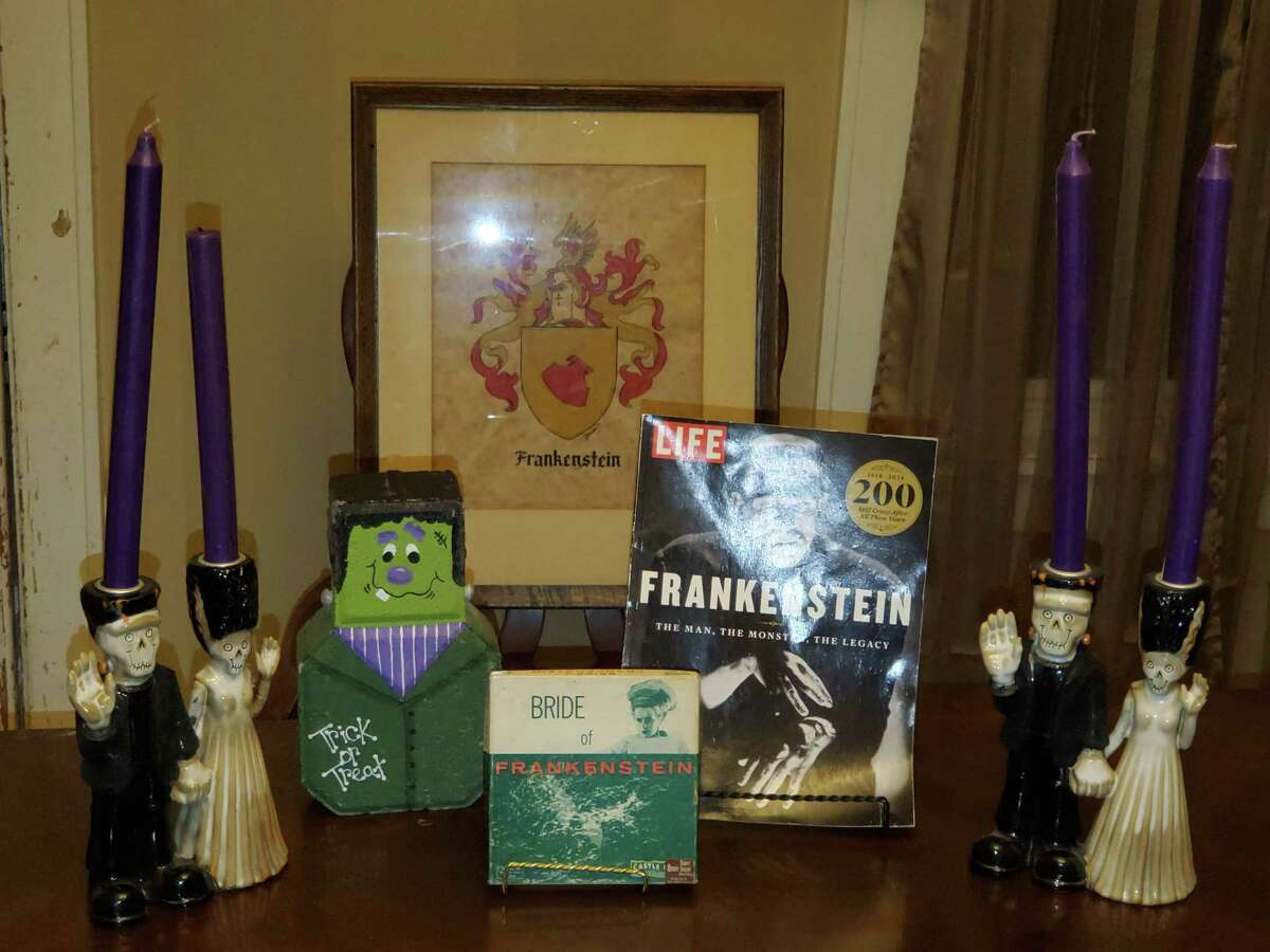 Guy Frankenstein has a collection of Frankenstein paraphernalia at his Ohio home.