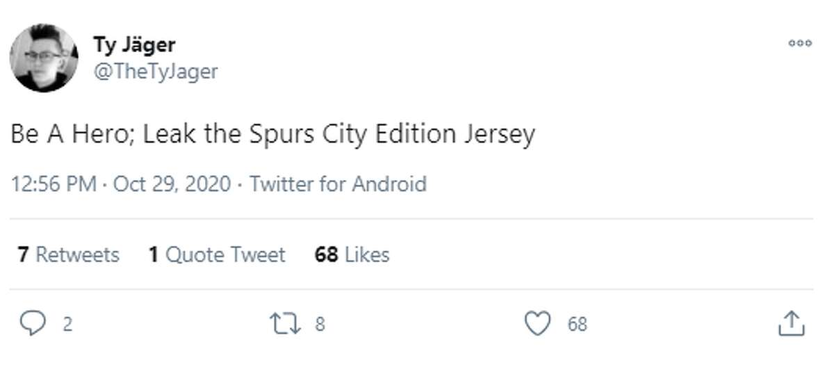 @TheTyJager: Be A Hero; Leak the Spurs City Edition Jersey