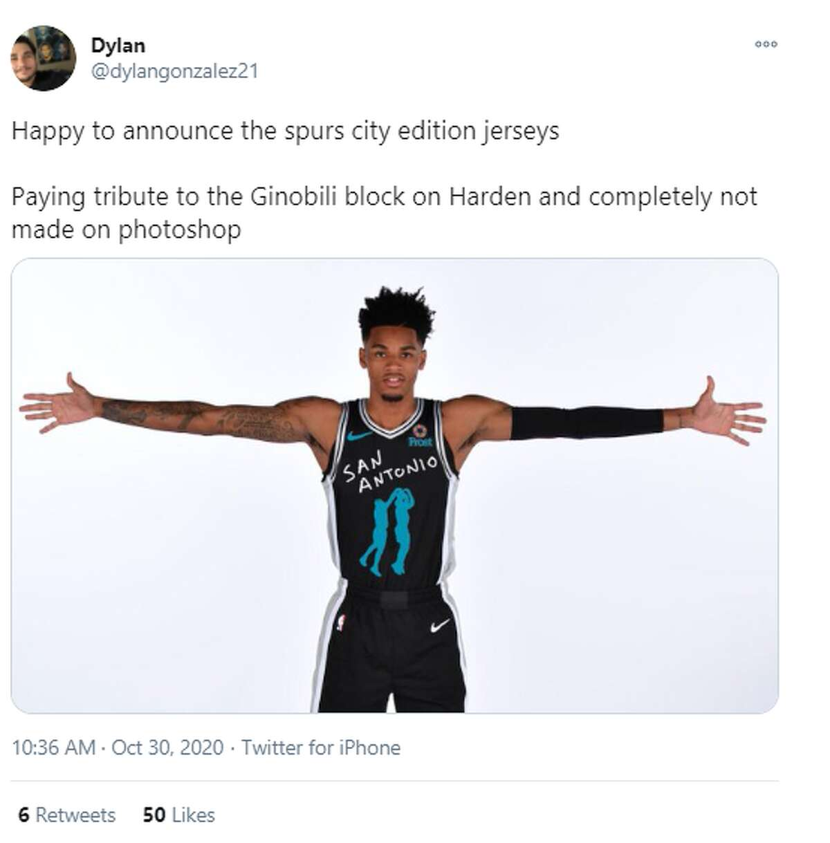 @dylangonzalez1: Happy to announce the spurs city edition jerseys Paying tribute to the Ginobili block on Harden and completely not made on photoshop