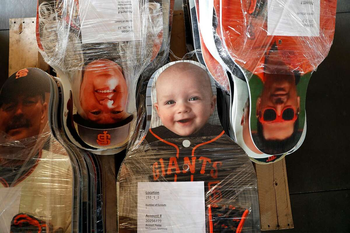 San Francisco Giants' fan cutouts wait to be mailed out at Oracle Park in San Francisco, Calif., on Wednesday, October 28, 2020. Fans had the option of paying to have their cutout sent to them.