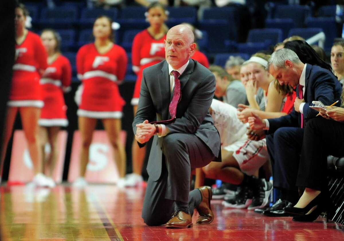 Fairfield University coach Joe Frager during a 2016 game against Sacred Heart at the Webster Bank Arena in Bridgeport.