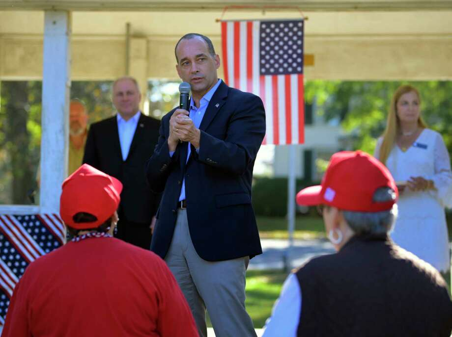 Republican Bob Good campaigns with Rep. Steve Scalise, R-La., background left, in Madison, Va., on Oct. 22. Good is in an unexpectedly tight House race against Democrat Cameron Webb. Photo: Washington Post Photo By John McDonnell. / The Washington Post