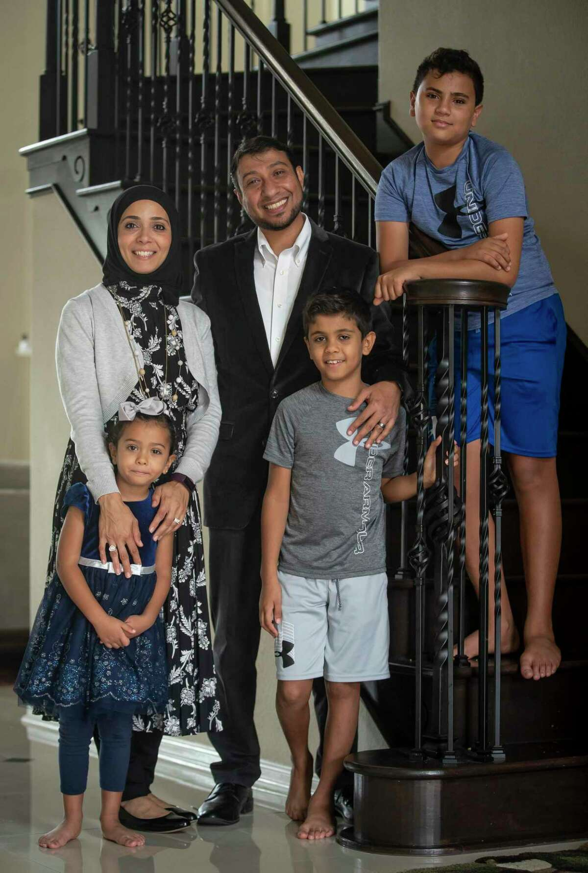 Doaa Omar, photographed with her husband Tamer Mansour, sons Omar and Yourself, and daughter Yassmena at their Friendswood home, has been working in initiatives to breakdown stereotypes of Muslims and get the Muslim community more civically involved. Photographed on Wednesday, Oct. 28, 2020.
