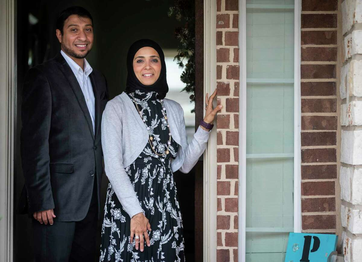 Doaa Omar, photographed with her husband Tamer Mansour at their Friendswood home, has been working in initiatives to breakdown stereotypes of Muslims and get the Muslim community more civically involved. Photographed on Wednesday, Oct. 28, 2020.