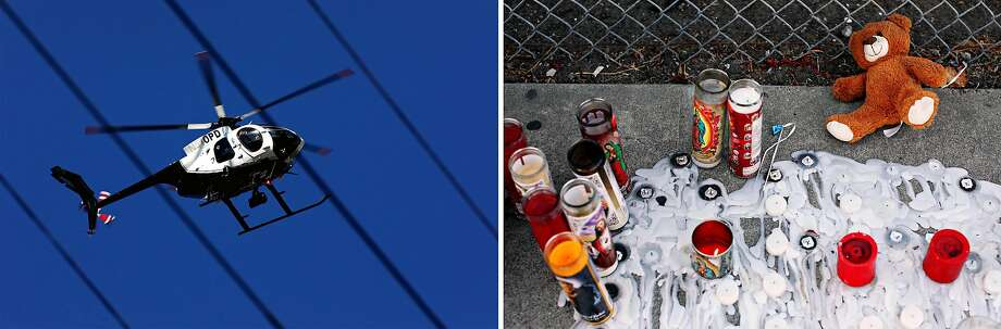 Left: An Oakland police helicopter observes the scene of a fatal shooting on 84th Avenue in October. Right: A memorial near the 5800 block of Elizabeth Street honors 16-year-old Aaron Pryor in September. Photo: Yalonda M. James / The Chronicle