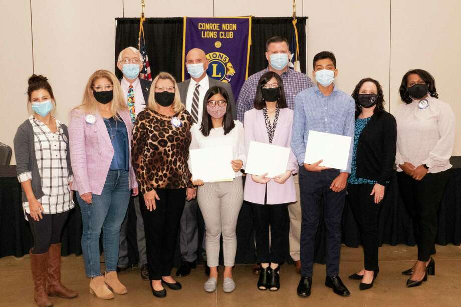 Conroe Noon Lions Club held its annual Drug Awareness Speech Contest at their club meeting awarding scholarship funds to three CHS seniors. Pictured: (l-r)back - Lions George Renneberg, Steve Williams, Warner Phelps, front - Lions Becca Ellis, Michelle Johnson, Caroline McWilliams, contestants Yasmeen Ocampo, Ester Loo, Eric Pineda, CHS counselor Jessica Beckham and CHS principal Tasha Smith. Photo: Courtesy Photo