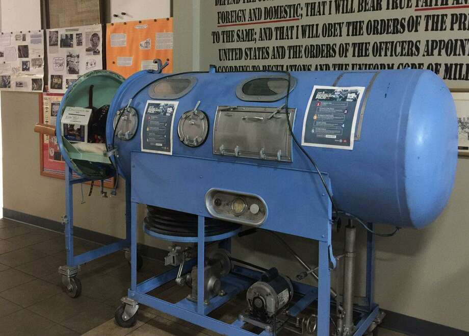 A working Iron Lung, a chilling reminder of the Polio epidemic of the 1950s, was on display at the recent RC of Conroe fundraiser, in recognition of World Polio Day 2020.The machine was on loan from the RC of Palestine and Rotary Past District Governor Hugh Summers. Photo: Courtesy Photo