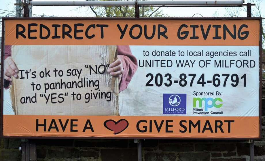 A billboard in Milford to encourage giving to charities that help the homeless Photo: City Of Milford