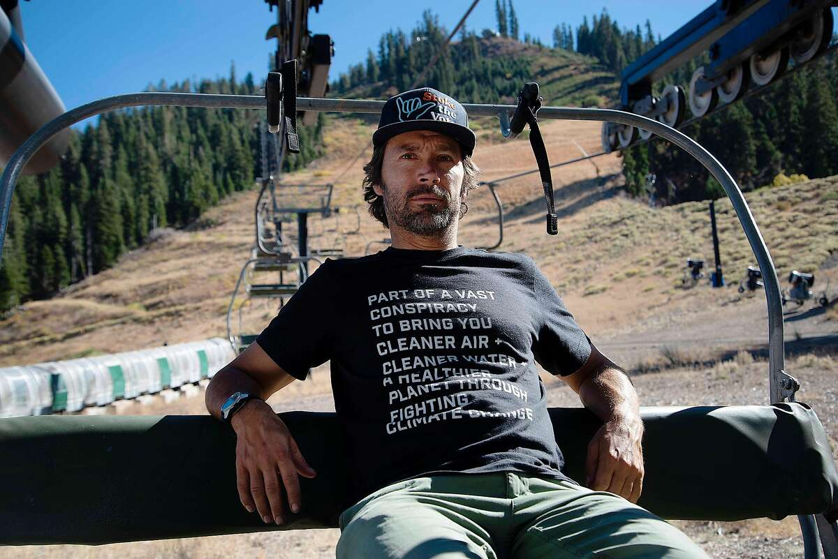Jeremy Jones, a professional snowboarder and environmental activist, spends time at his home resort, Squaw Valley Ski Resort, in Olympic Valley, Calif. on Oct. 14, 2020.