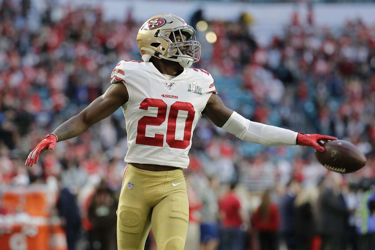San Francisco 49ers' Jimmie Ward (20) warms up before the NFL Super Bowl 54 football game between the San Francisco 49ers and Kansas City Chiefs Sunday, Feb. 2, 2020, in Miami Gardens, Fla. (AP Photo/Lynne Sladky)