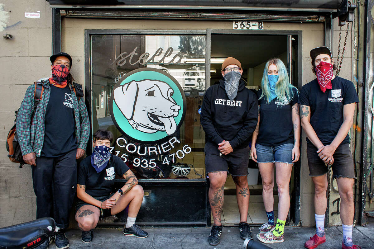 From left to right, Tony Monroe, Monica Rocha, Ramy Silyan, Holly Friedmannand Chris Hubbard, who work at Stella Courier, a bicycle courier company in San Francisco.