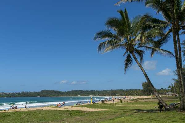 HAWAII, UNITED STATES - 2019/04/23: View of Hanalei beach on the northern end of the Hawaiian Island of Kauai, Hawaii, USA.