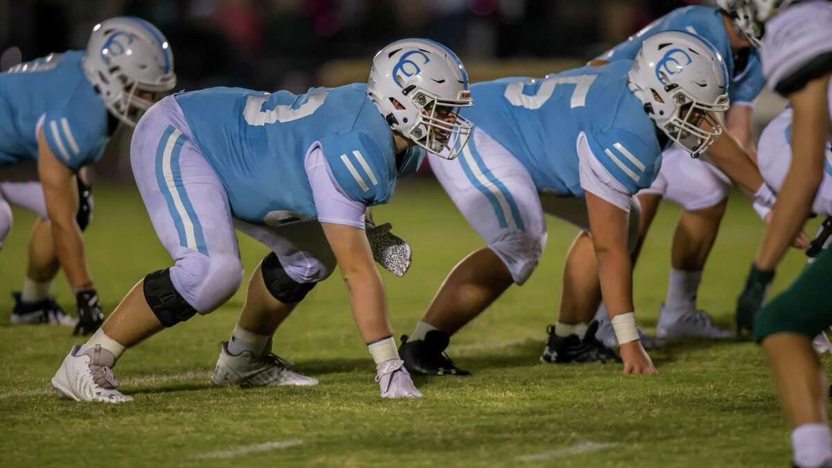 The Warrior offensive line get set during a Cypress Christian football game. The Warriors are off to a solid start in TAPPS play under first-year head coach Kris Hogan and determined to be the last team standing in the state in Division III.