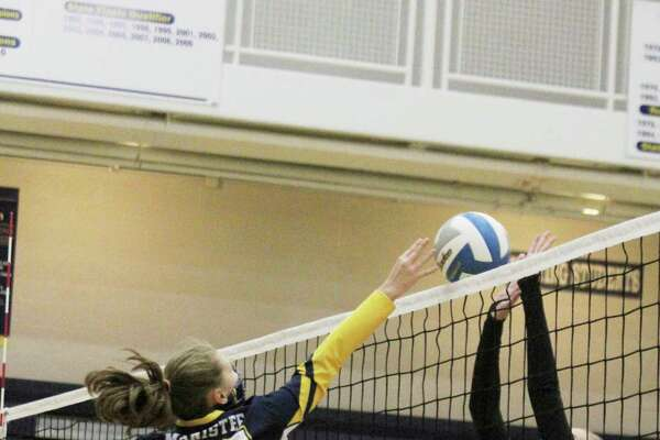 Manistee's Allison Kelley plays a ball at the net earlier this season. The Chippewas will face Ludington on Wednesday in a Division 2 district semifinal at Cadillac. (News Advocate file photo)