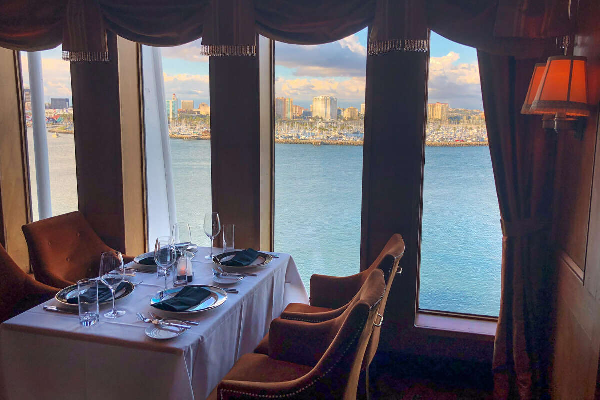 Sir Winston's, the fine dining restaurant atop the Queen Mary, with a view of Long Beach