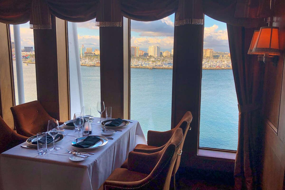 Sir Winston's, the gourmet restaurant atop Queen Mary, overlooking Long Beach.