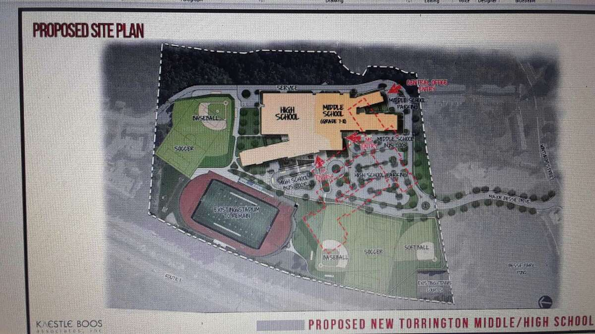 A preliminary drawing of the proposed middle-high school project.