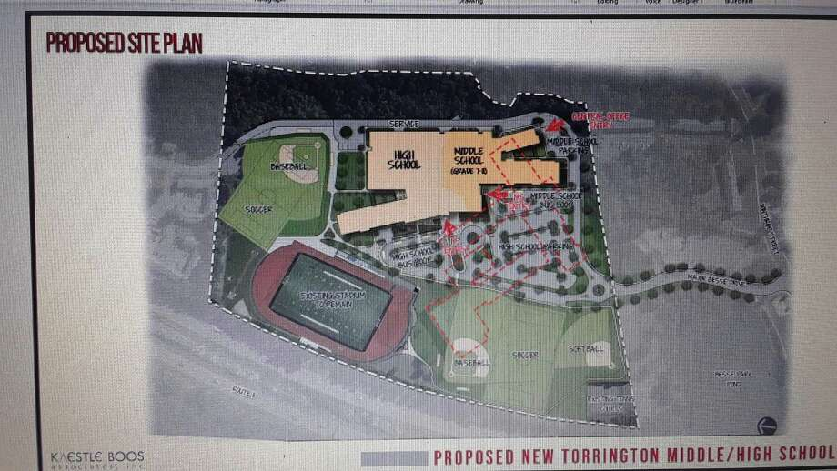 A preliminary drawing of the proposed middle-high school project. Photo: Emily M. Olson / Hearst Connecticut Media