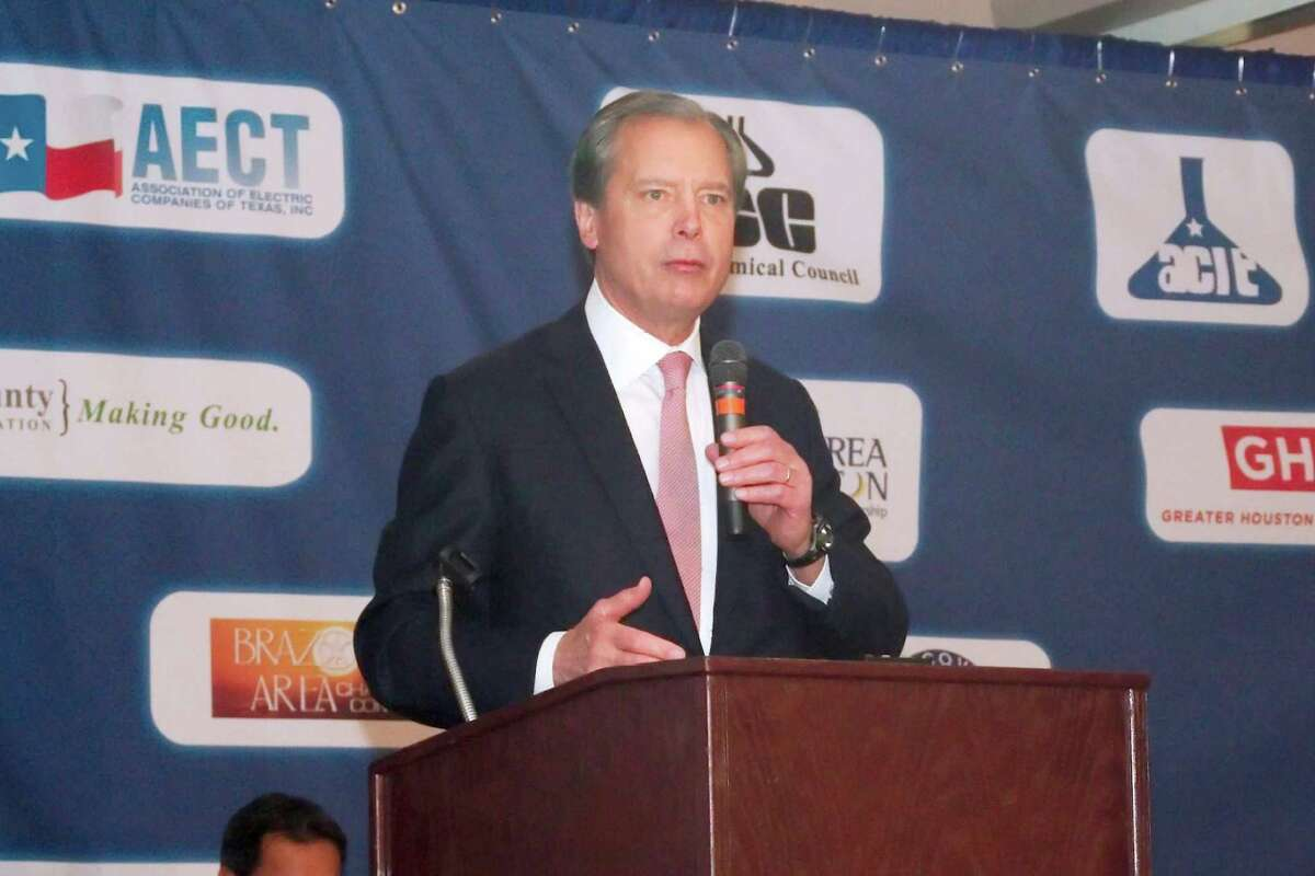 Former Lt. Gov. David Dewhurst is shown in a 2017 photo, speaking at a candidate forum.