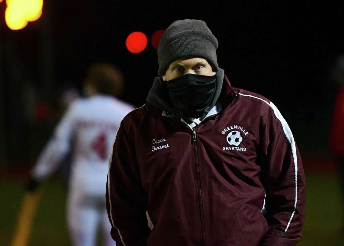 Greenville boys' soccer coach Nathan Forrest, shown during last year's Patroon Conference title game, said his team rode the momentum of an early goal against Maple Hill on Thursday, Oct. 7, 2021.