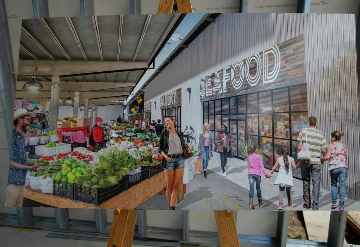 A rendering of the a section of the open air market and Building B of the Houston Farmers Market, which is being redeveloped, is photographed Friday, Oct. 30, 2020, in Houston. Building B will have R-C Ranch, an innovative butcher shop, Underbelly restaurant and otehr vendors.