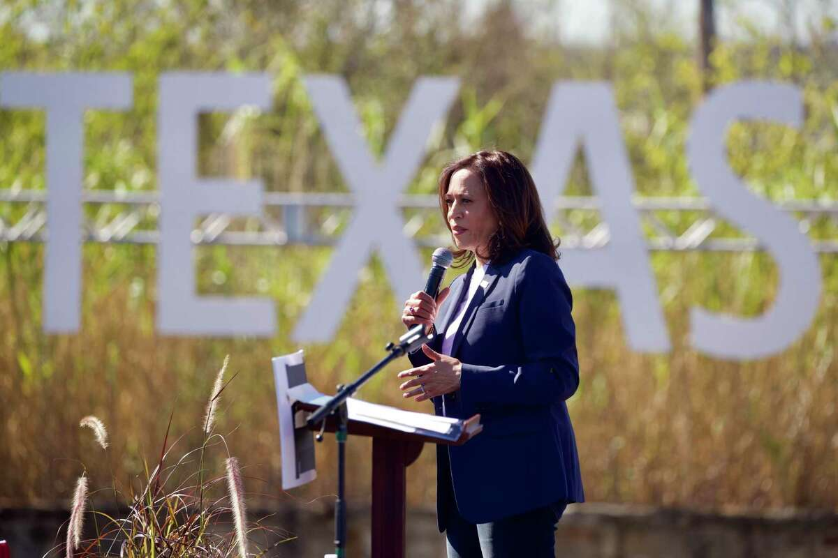 Democratic Party vice presidential nominee Kamala Harris speaks at a field during a campaign event behind First Saint John Cathedral in Fort Worth, Texas, on Friday, Oct. 30, 2020. The visit to Fort Worth is one of a three-stop Texas tour, which also includes Houston and McAllen, leading up to the general election on Tuesday. (Lynda M. Gonzalez/The Dallas Morning News/TNS)