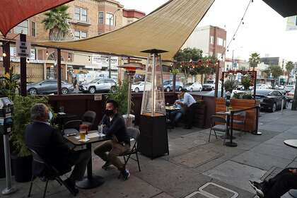 The parklet at Sippin/Bottom's Up on Mission Street in S.F..