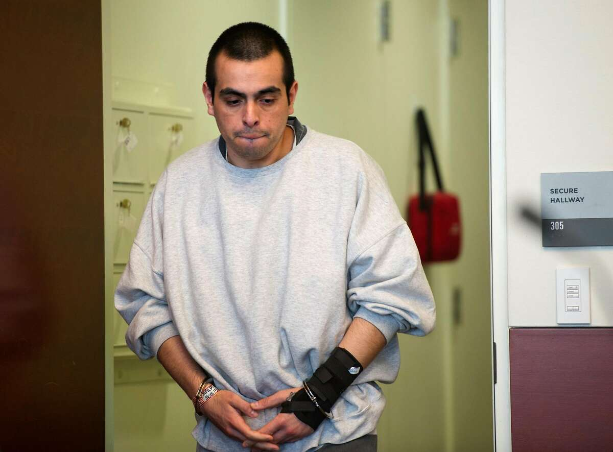 Armando Aryas Cuadras enters the courtroom during a preliminary hearing on Thursday, November 21, 2019 at the Sutter County Courthouse in Yuba City, Calif. New DNA testing connected Cuadras, 29, in the murder of Leola Lucille Shreves, 94, in January 2013.