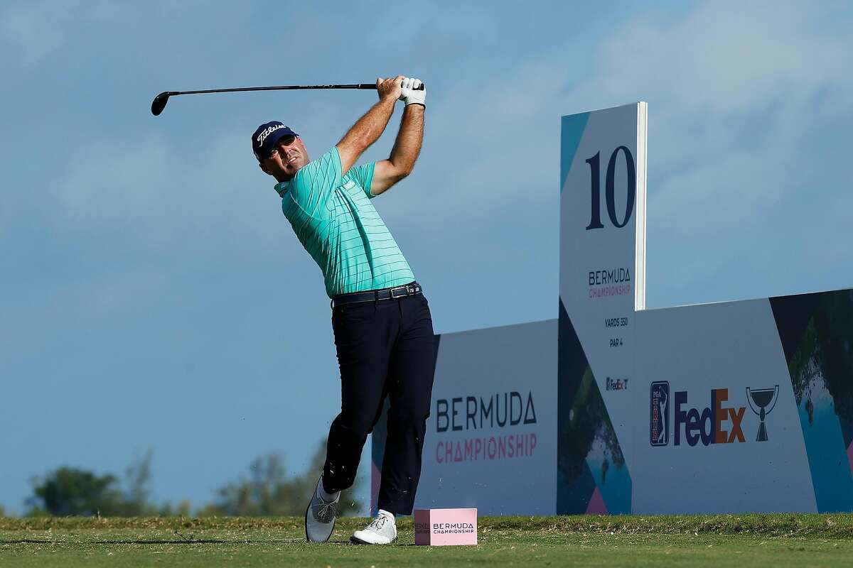 Ryan Armour plays his shot from the 10th tee in the PGA Tour's Bermuda Championship. He shot 1-under-par 70 and shares the second-round lead with Wyndham Clark at 8-under 134.