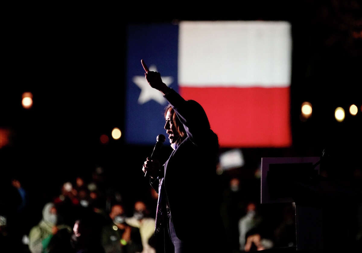 Democratic vice presidential nominee Kamala Harris speaks during a rally at the University of Houston during a day of campaigning in Texas on Friday, Oct. 30, 2020.