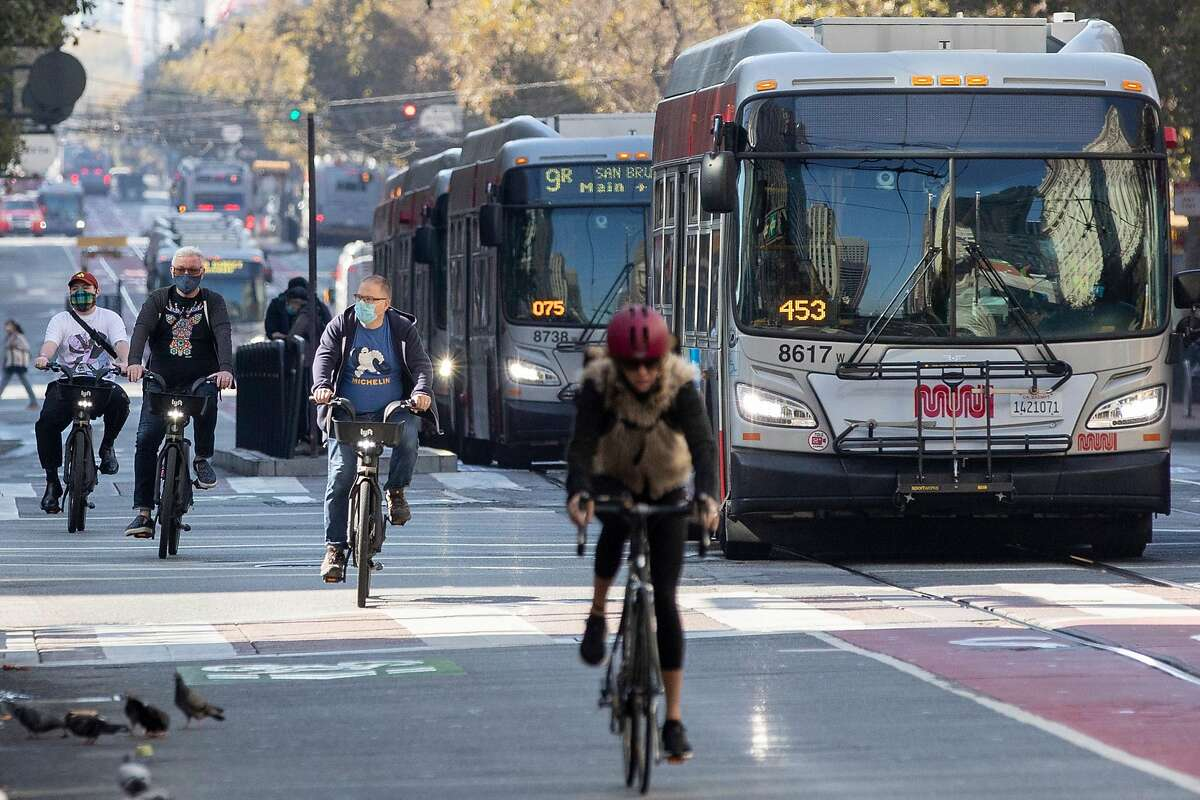 The new plan for the redesign of Market Street eliminates a protected bike lane on sidewalks.