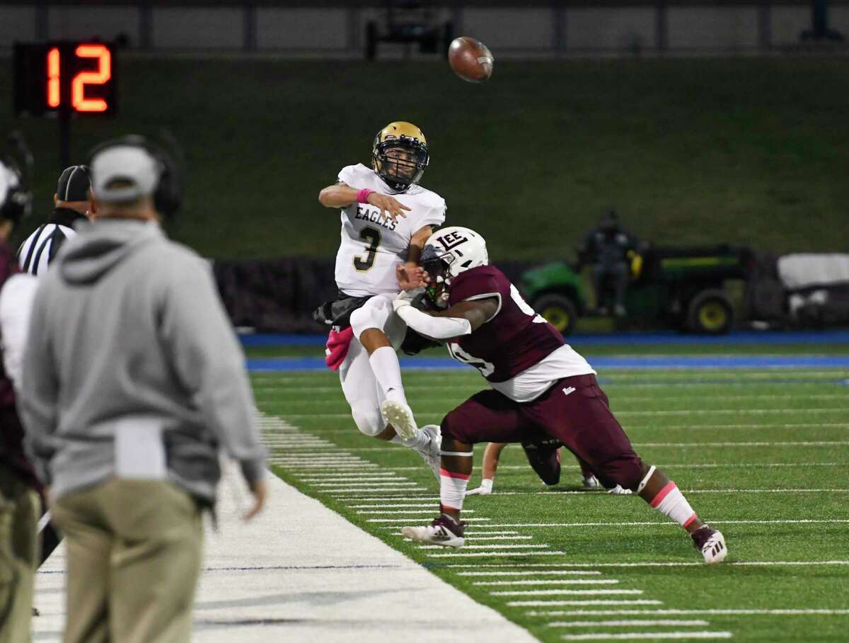 Lee's Kameron Curry pushes Abilene High's Abel Ramirez (3) out of bounds as he throws the ball down the field Friday, Oct.30, 2020 at Grande Communications Stadium. Jacy Lewis/Reporter-Telegram