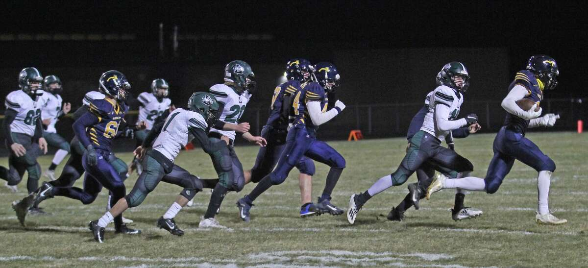 The Bad Axe varsity football team earned its first playoff win since 1978 on Friday night with a 19-12 win over Laker.