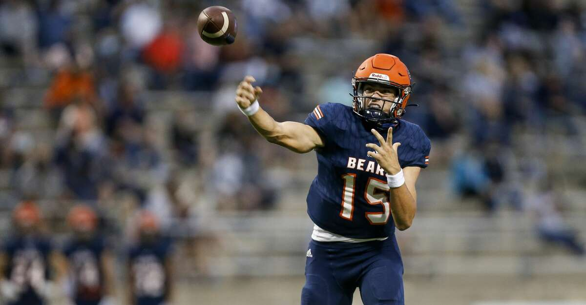 Bridgeland quarterback Conner Weigman (15) throws the ball against Klein Cain High School at Cy-Fair FCU Stadium on Thursday, Sept. 24, 2020, in Cypress, Texas.
