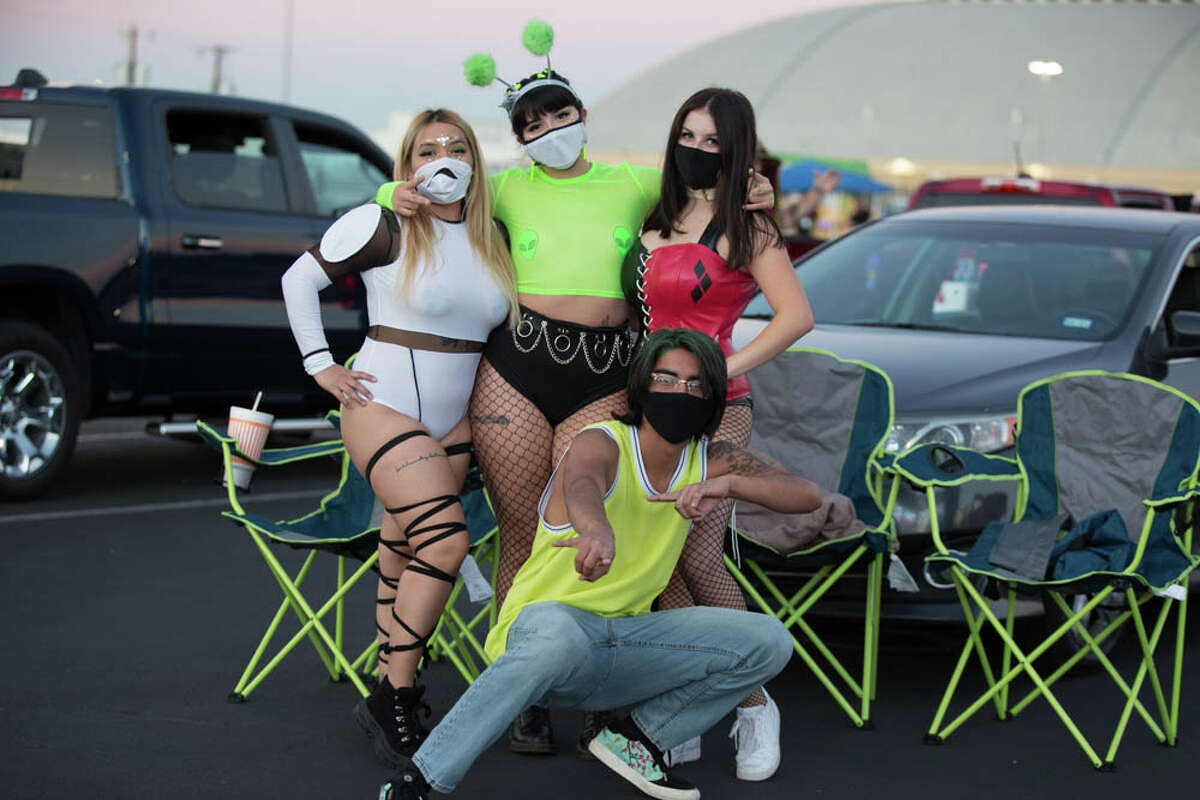 EDM fans gathered for a social distanced drive-in concert in front of the Freeman Coliseum on October 30, 2020.